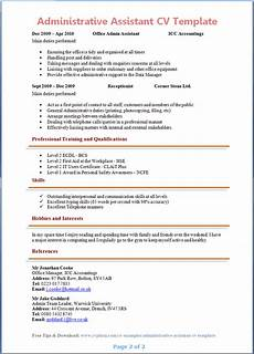 Admin Cv Examples Uk Administrative Assistant Cv Template Page 2 Preview