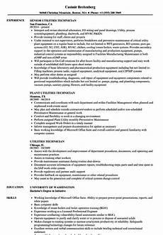 Utility Resume Sample Utility Technician Resume Templates Microsoft