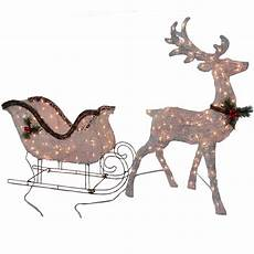 Lighted Santa Sleigh And Reindeer Outdoor 2pc Lighted Vine Deer And 36in Lighted Vine Sleigh 45 In