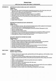 Quality Assurance Resume Samples Quality Assurance Senior Manager Resume Samples Velvet Jobs
