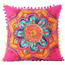pink orange blue embroidered colorful throw pillow