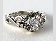 Asymmetrical Halo ?Love Knot? Engagement Ring in 14k White