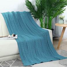 100 cotton cable knitted throw sofa bedding blankets teal