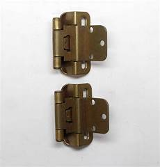 pair of 3 in partial wrap cabinet brass hinges olde