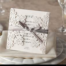 Lace Wedding Invitation Ribbons And Lace Laser Cut Embossed Wedding Invitations