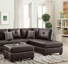 brown bonded leather sectional sofa set f6973 poundex