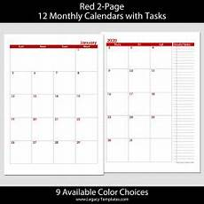 Two Month Calendar 2020 2020 12 Months 2 Page Calendar A5 Legacy Templates