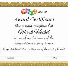 Certificate For Competition Create A Beautiful Award Certificate For The Rhymezone
