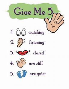 Give Me Five Rules Give Me 5 Obedience Chart For Class Settings Or Group