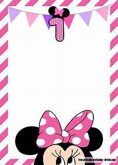 Minnie Mouse Invitation Template Free Free Minnie Mouse 1st Birthday Invitations Templates Drevio