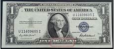 Silver Certificate Dollar Bill Value Chart 1935 F Silver Certificate Blue Seal One Dollar Bill Unc