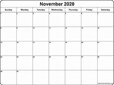 Calendar Month November 2020 November 2020 Calendar Free Printable Monthly Calendars