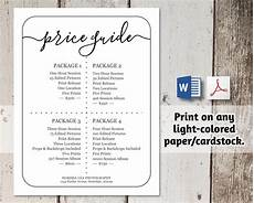 Photo Templates For Word Printable Price List Template No Color Ink Word Pdf