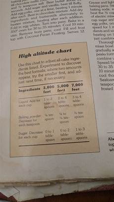 High Altitude Baking Chart Finally Found A High Altitude Baking Chart In My S Old