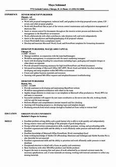 Resume Templates For Publisher Desktop Publisher Resume Samples Velvet Jobs