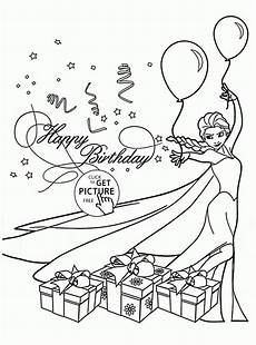 happy birthday card with elsa coloring page for