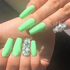 Light Pink And Green Nails Lime Green With Holographic Glitter Tapered Square Nails