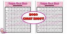 Bogo Chart For Couponing Printable Coupon Cheat Sheet