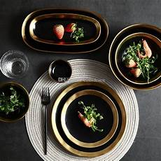 Designer Dishes Handmade Contemporary Ripple Design Gold Rimmed Ceramic