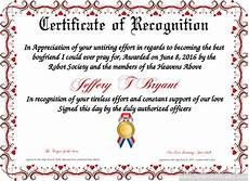 Text For Certificate Of Recognition Certificate Of Recognition Free Certificate Templates