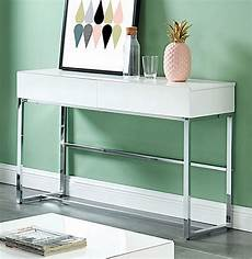 juni white wood metal sofa table w drawers by furniture of