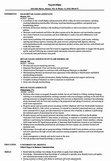 Sample Cv For Sales Associate Resume Skills Examples For Retail World Of Reference