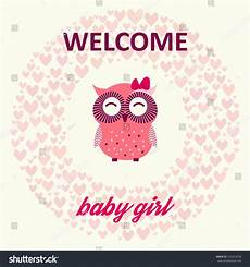 Welcome Baby Girl Welcome Baby Girl Card Cute Pink Stock Vector 203654038