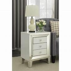 malibu white mirrored glass modern 3 drawer bedside table