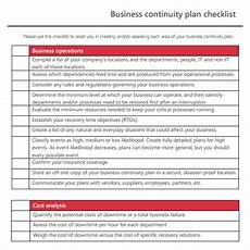 Business Plan Checklist Template Free 12 Sample Business Continuity Plan Templates In Pdf
