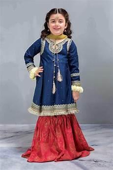 Baby Farooq Design Punjabi Attire For Baby Girl In Blue Orange Color By