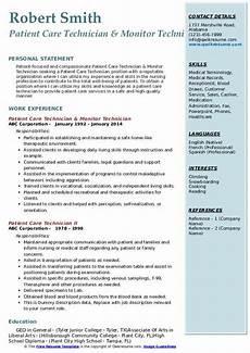 Patient Care Technician Resume Sample Patient Care Technician Resume Samples Qwikresume