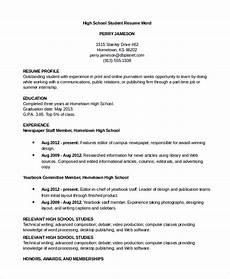 Resume For High School Student For College Free 8 Resume Samples In Ms Word