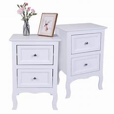 nightstand set of 2 2 drawers bedroom side table bedside