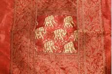 indian traditional silk golden thread work bed sheet