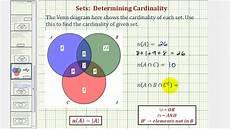 Venn Diagram Sets Calculator Ex Determine Cardinality Of Various Sets Given A Venn