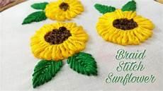 braided stitch sunflower embroidery work