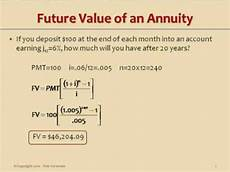 Future Value Of Future Value Of An Ordinary Simple Annuity Youtube