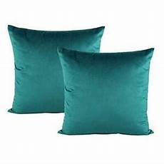 set of 2 decorative teal throw pillow covers velvet
