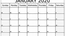 January Editable Calendar 2020 Free Fillable January Calendar 2020 Printable Editable