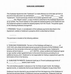 Sublet Agreement Format Sublease Agreement Sample Template Word Amp Pdf
