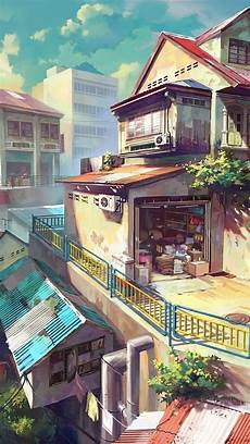 City Painting Iphone Wallpaper by Side Houses Cities Anime Scenery Scenery Wallpaper