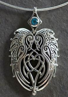 Welsh Celtic Designs Ravens Heart Large Sterling Silver Celtic Pendant By Jen