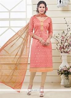 buy glossy banarasi silk peach churidar designer suit