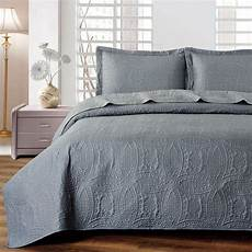 quilted comforter set 3 california king gray