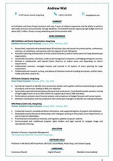 Resume Cv Sample Resume Cv Sample For Exhibition And Event Project