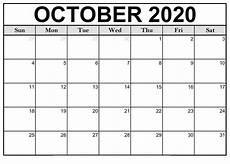October Calendar October 2020 Printable Calendar Template Printable Calendar