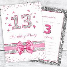 11th Birthday Party Invitation Wording 13th Birthday Party Invitations Pink Sparkly Design And