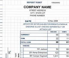 Deposit Template Deposit Ticket Template Excel Deposit Slip Template