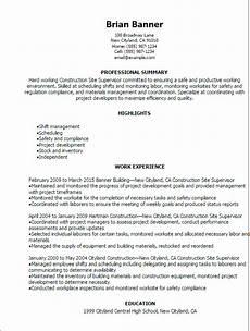 Resume Building Sites Construction Site Supervisor Resume Template Best Design