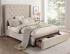 fairborn beige king upholstered platform storage bed from